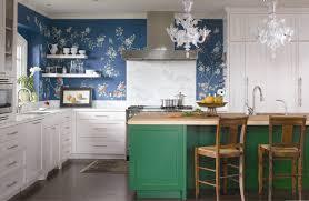 cute crystal chandelier for adorable kitchen design with dark green kitchen island