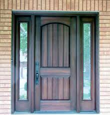 Dark Walnut Front Entry Doors With Two Panel Arched Top Also