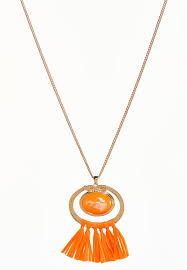 raffia tassel pendant necklace alternate view raffia tassel pendant necklace