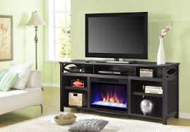 tv stand with electric fireplace and mini fridge