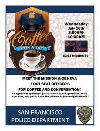 Coffee With A Cop Flyer Coffee With A Cop San Francisco Police Department