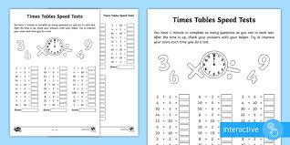 Sheet Time Year 2 Maths Times Tables Speed Tests Homework Activity Sheet Year 2