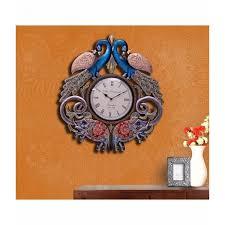indian handmade vintage finish wooden elephant peacock wall clock
