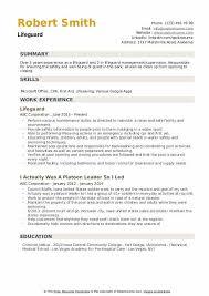 Lifeguard Resume Samples Qwikresume