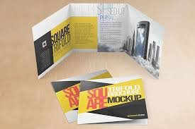 Square Tri Fold Brochure Mock Ups