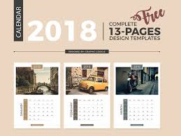 Calender Design Template Free Complete 2018 Calendar Design Templates 13 Pages By Graphic