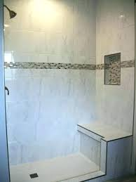 shower tile accent strips showers new pebble border tiles bathroom strip height transitional
