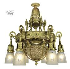 vintage hardware lighting antique crystal chandelier 6 arm ceiling light fixture basket style ant 593