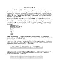 Sample Descriptions Of Speech Language Assessment Instruments