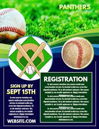 Baseball Brochure Template Baseball Registration Poster Flyer Design Template Flyer