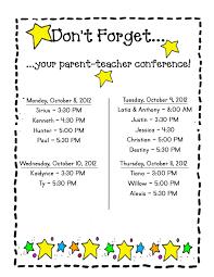 Miss Ahrens Class Parent Teacher Conference Schedule