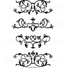 Vector Marriage Clipart of Black and White Ornate Floral Wedding Victorian  Design Elements