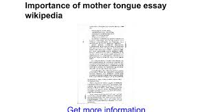 importance of mother tongue essay google docs