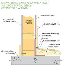 shower and wet area wall floor junction perimeter flashing