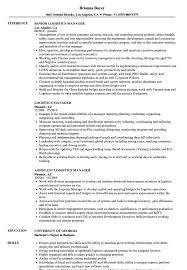 Logistics Management Resume Logistics Manager Resume Samples Velvet Jobs