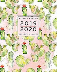 Monthly Academic Calendar Watercolor Cactus Weekly Monthly Academic Planner 2019