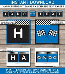happy birthday customized banners blue race car birthday banner happy birthday banner