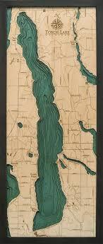 Vineyard Lake Depth Chart Torch Lake 3 D Nautical Wood Chart 13 5 X 31