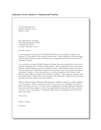 Cover Letter Cover Letter For Elementary Teacher Sample Cover