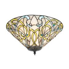 Art Nouveau Lighting Interiors 1900 Dauphine 2 Light Inverted Flush Ceiling Fitting With Art Nouveau Tiffany Design
