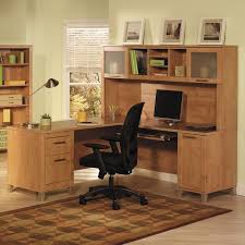 home office computer desk furniture. Unstained Oak Wood Computer Desk With Hutch And Square Frosted Glass Door Panel Also Short Tapered Home Office Furniture
