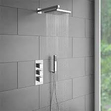 milan triple thermostatic shower package with head handset