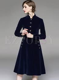 vintage stand collar big hem trench coat