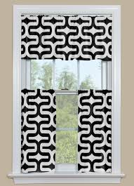 Geometric Patterned Curtains Geometric Style Kitchen Curtain In Black And White
