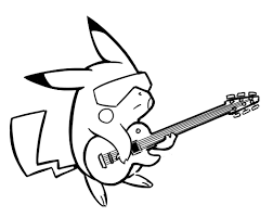 Coloring Pages Of Pikachu Pikachu Playing Guitar Free Coloring Page