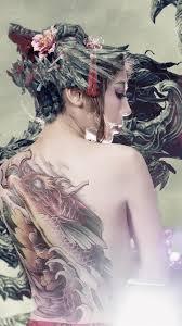 Wallpaper Asian girl back view, tattoo ...