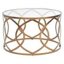 copper leaf and glass round coffee table