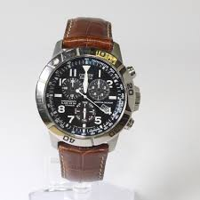 image 1 of 6 mens citizen eco drive watch with brown leather band