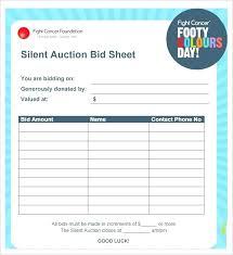 Bid Sheet For Silent Auction Printable Silent Auction Bid Sheet Senetwork Co