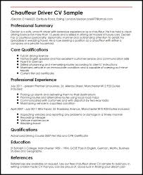 Chauffeur Driver CV Sample