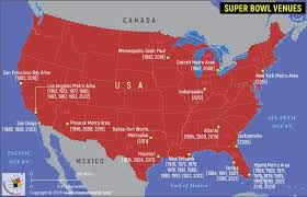 Superbowl Chart 2017 Super Bowl Host Cities Map Upcoming Venues Results