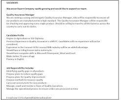 Quality Assurance Manager Job Vacancy In Sri Lanka