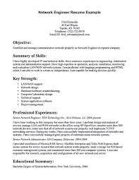 Network Engineer Resume Objective Sample Summary Examples Cisco