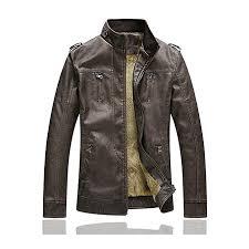 fashion winter velvet plus thick warm stylish pu motor yellow faux washed leather jacket for men