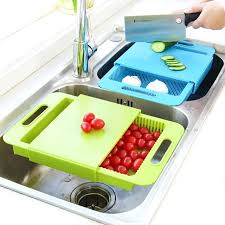 3 in 1 kitchen sink cutting board removable chopping blocks with drain basket shelf for meat