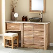 60 venica teak vessel sink vanity with makeup area whitewash with measurements 1500 x 1500