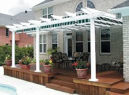 image of vinyl pergola with retractable canopy home