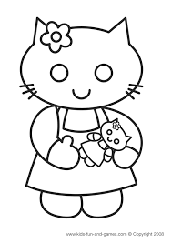 Paint hello kitty with the colors of the palette that you like. Hello Kitty Coloring Sheets Kids Games Central