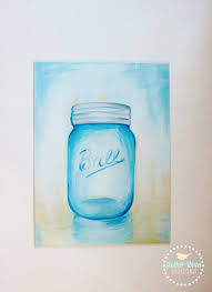 Blue Mason Jar Acrylic Painting on Canvas, Mason Jar Wall Art  MotherWrenDesigns.etsy.