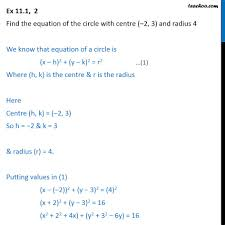 ex 11 1 2 equation of circle with centre 2 3