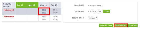 Shift Assignment Delete A Scheduled Shift Assignment Guardtek Help Center