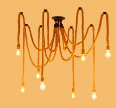 8 heads american country style pendant light fixtures swag cotton rope chandelier lighting textile cable