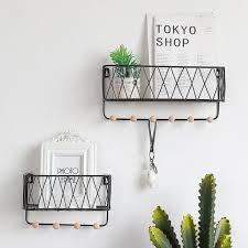 brief nordic metal iron grid wall shelf