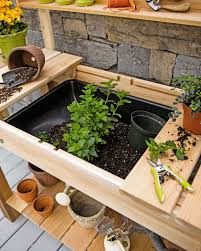 Potting Table Potting Bench Cedar Potting Table With Soil Sink And Shelves