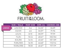 Fruit Of The Loom Lady Fit Size Chart Fruit Of The Loom Womens 6 Pack Premium Ultra Soft Hipster