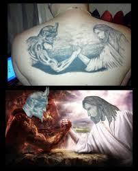 Jesus Arm Wrestling With Satan Tattoo Memes Tattoo Memes